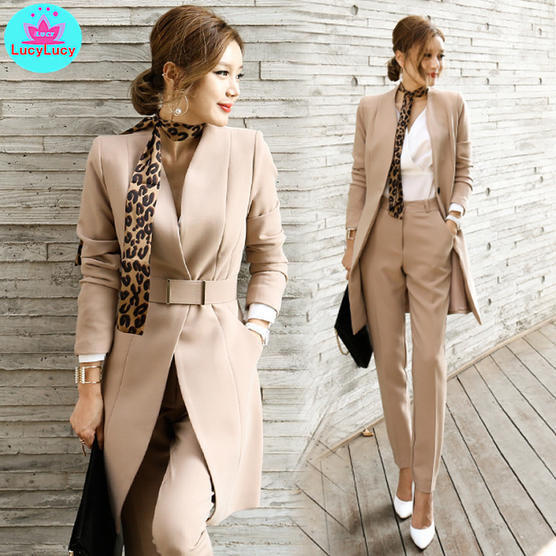 2019 New Fashion High-end Self-cultivation Wild Small Suit Long Pants Casual Tooling Two-piece Professional Suit Female