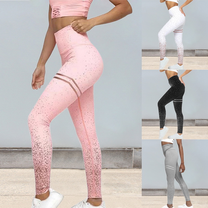 Hot Sale Women Sexy Black Mesh Yoga Pants Gym Srtriped Printed Leggings Slim Fitness High Waist Leggings Workout 2019