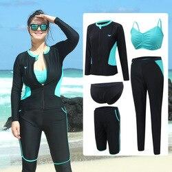 Das Mulheres dos homens Plus Size Corrida Guardas 3-5 peças conjunto protetor Solar UV de Corpo Inteiro Manga Comprida Zip até Nadar Leggings Camisa Surf Tops & Bottoms