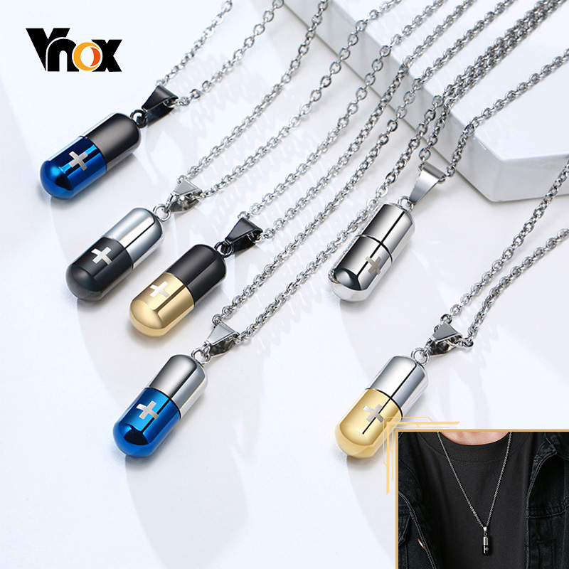 Vnox Hollow Pill Necklace for Men Women,Cross Engraved,Cremation Urn Pendant,Perfume Holder,Ashes Vial Keepsake Memorial Jewelry