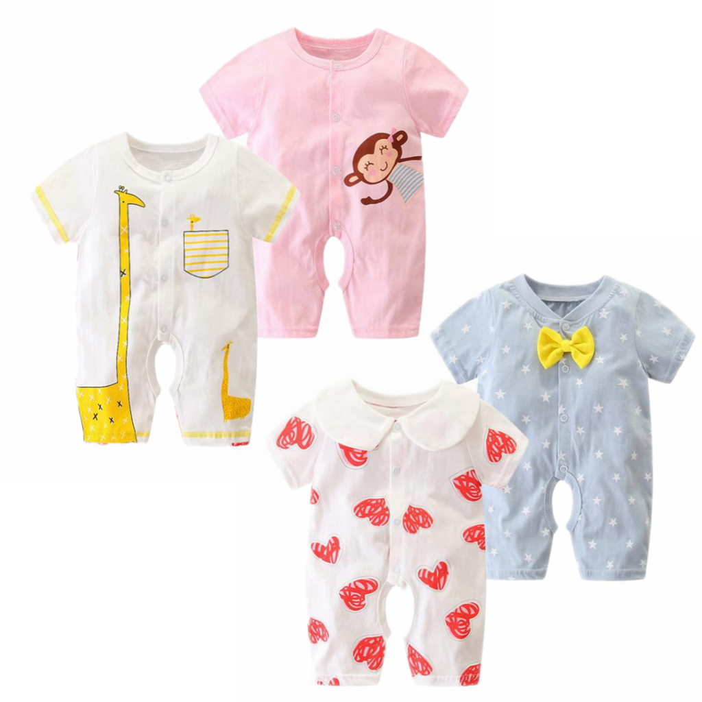 2019 Summer New Style Short Sleeved Girls Dress Baby Romper Cotton Newborn Body Suit Baby Pajama Boys Girls Short Sleeve Rompers