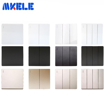 10A Eu 1/2/3/4/Gang 1/2 Way Wall Switch Push Button Switch Wall Light Switch PC Frame Panel On/Off Lamp Switch 3 files 2 knives band switch top three audio inputs switch