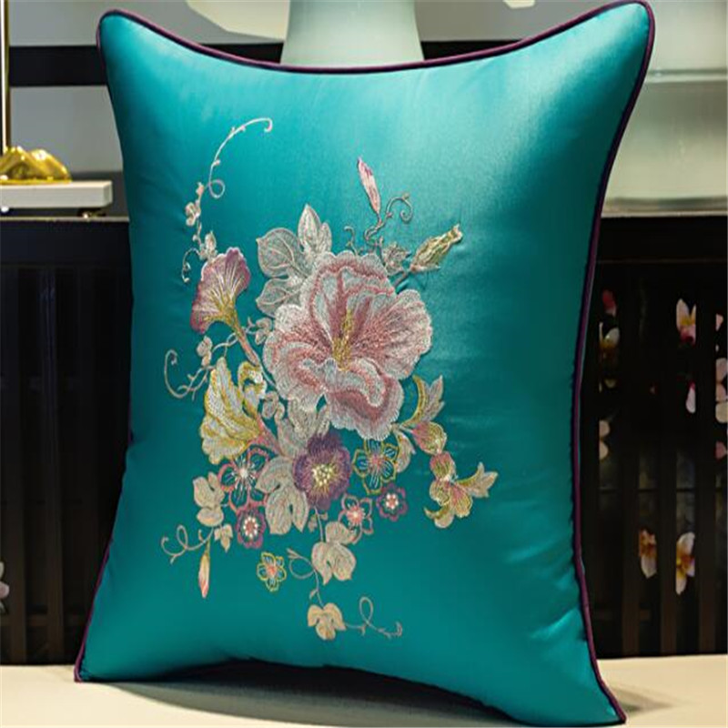 free shipping classical flower throw <font><b>Pillow</b></font> with inner <font><b>50x50cm</b></font> <font><b>Pillow</b></font> embroidery sain cushion <font><b>pillow</b></font> chair <font><b>decorative</b></font> image