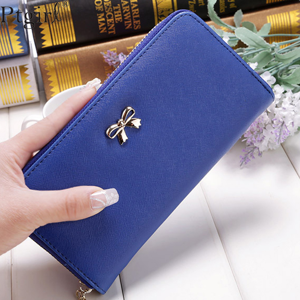 Cards Holder Wallet Ladies Cute Bowknot Women Long Wallet Pure Ptgirl Women Wallets Porte Monaie Femme кашелек женский Portfel