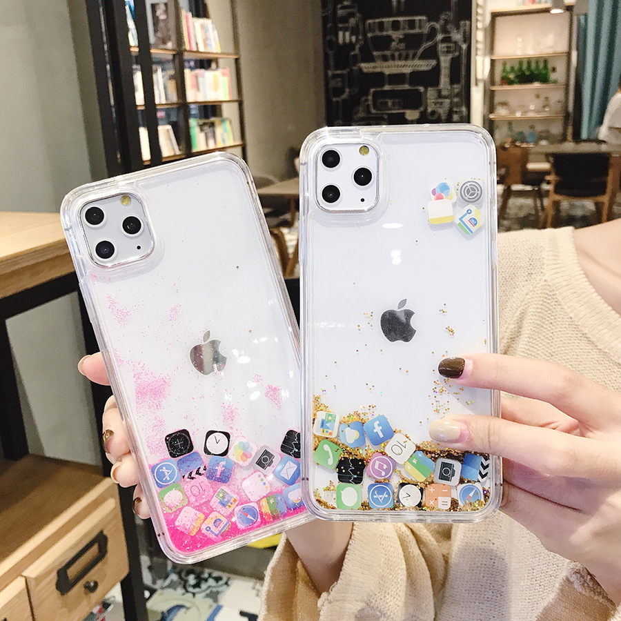App Quicksand CaseS For iPhone 5 5S SE X XR XS 11 Pro MAX 6 6S 7 8 Plus Glitter Dynamic Liquid Protective phone Case Cover Coque image