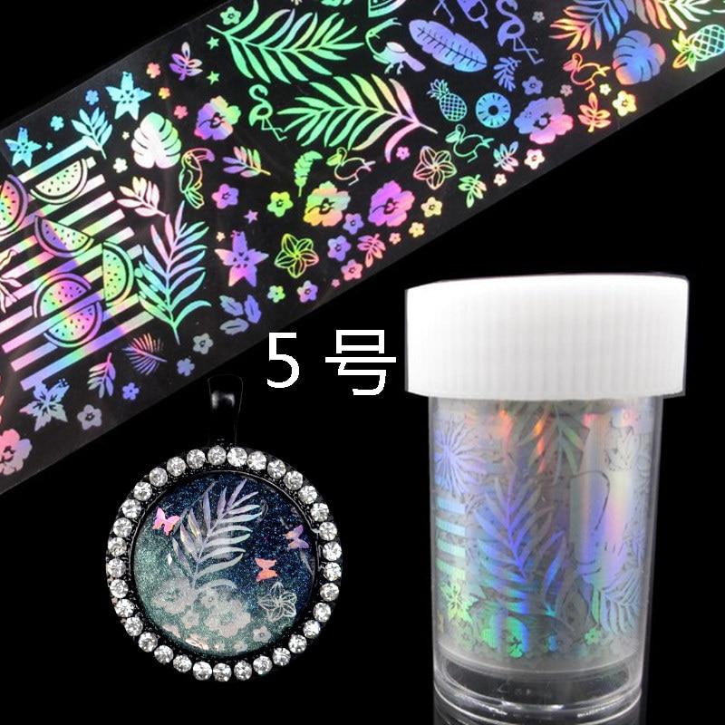 Купить с кэшбэком QIAOQIAO DIY  Holographic Nail Foil Laser Rose Panda Butterfly Dandelion Xmas Nail Art Transfer Sticker For UV Gel Polish