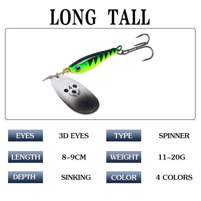 1 Pcs Berputar Payet Memancing Umpan 11G/15G/20G Kait Spinner Sendok Logam Umpan Payet umpan Wobblers Bass Trout Bertengger Pike Pesca
