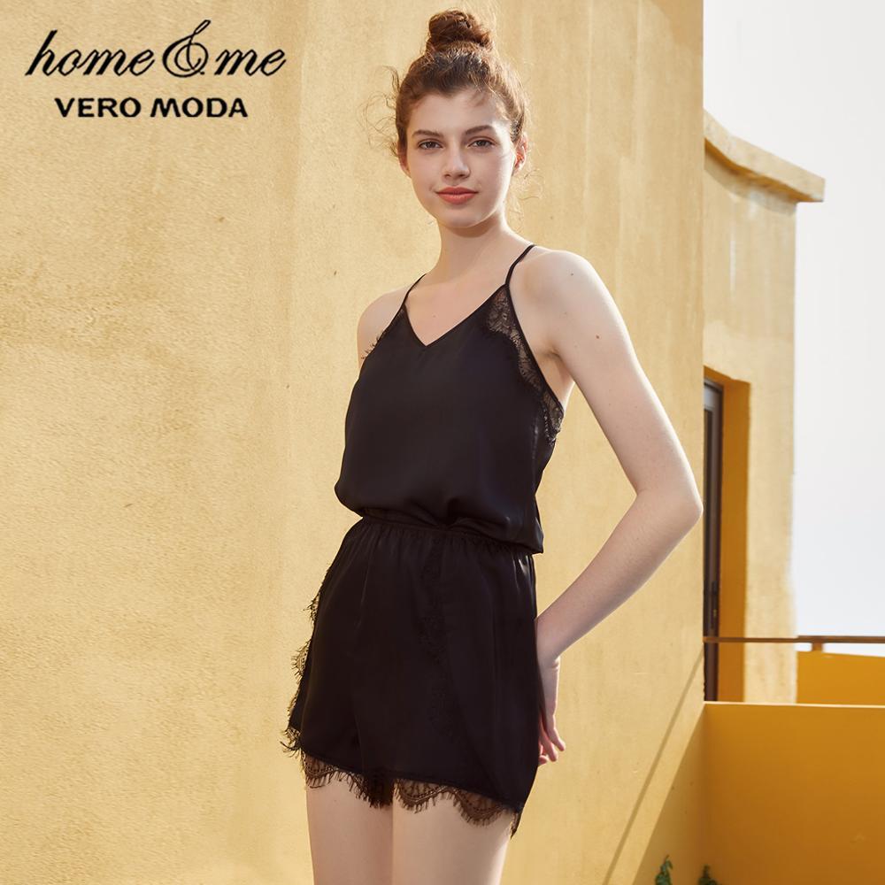 Vero Moda New Arrivals Lace Splice Sun-top Homewear Suit   3192TC501