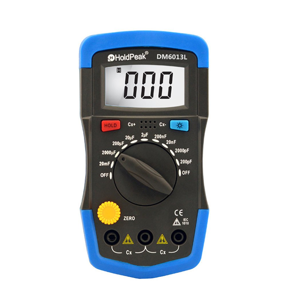 DM6013L Portable Handheld Digital Capacitance Capacitor Meter 1999 Counts Tester  200pF~20mF    Data Hold Backlight