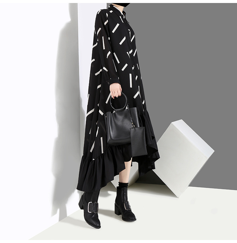 New Fashion Style Black Striped Split Joint Ruffles Hem Loose Dress Fashion Nova Clothing