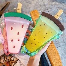 Bouteille d'eau carrée Double paille 320Ml, tasse de boisson froide pour étudiant d'été, tasse de glace en plastique pour l'extérieur, bouteille d'eau pour dames
