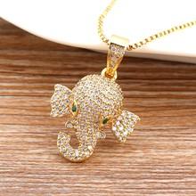 2020 venda quente bonito cobre cz elefante colares cor do ouro zircão cúbico sorte animal jóias melhor festa aniversário presentes de natal