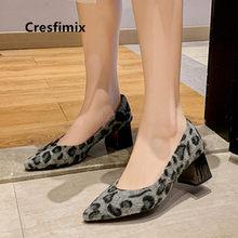 Cresfimix moda de alta qualidade leopardo festa salto alto para senhoras casuais preto bombas sapatos escritório sapatos azuis a9039