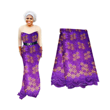African Nigerian Tulle Lace Fabric Beaded For Sewing Cloth 2019 Floral Embroidery Best Selling Purple French Lace Fabric 5 Yards