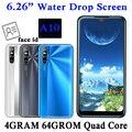 Android 13MP Smartphones A10 Quad Core Original 4G RAM 64G ROM 2sim Handys Gesicht ID Entsperrt 6.26