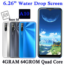 Android 13MP Smartphones A10 Quad Core Original 4G RAM 64G ROM 2sim Handys Gesicht ID Entsperrt 6.26