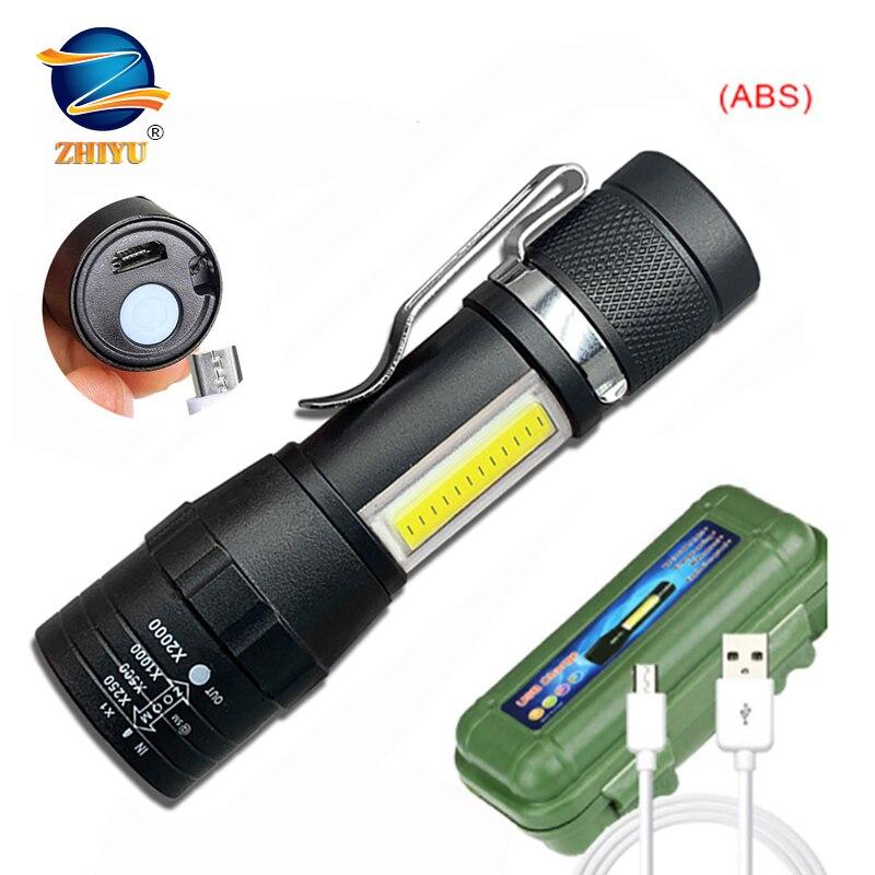 ZHIYU мини фокус фонарик COB + XPETactical фонарь светодиодный фонарик USB Перезаряжаемые Водонепроницаемый брелок светодиодный фонарик работы Cob