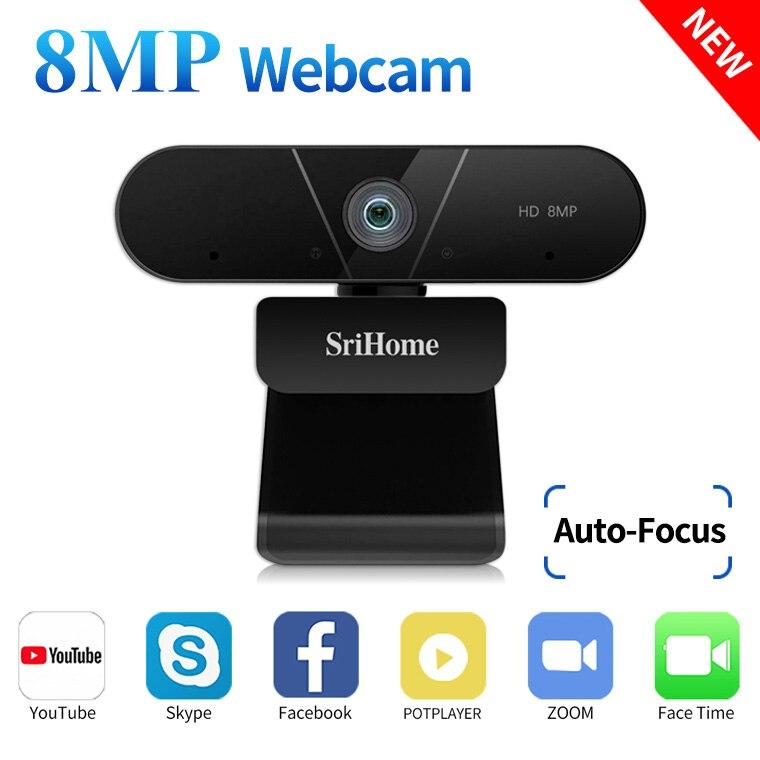 Srihome 4K FHD 8MP веб-камера с двойным микрофоном автофокусом, USB Plug & Play для Vdeo конференции, Live Network, дистанционное обучение
