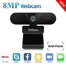 Srihome 4k fhd 8mp webcam com microfone duplo foco automático, usb plug & play para conferência vdeo, rede ao vivo, aprendizagem à distância