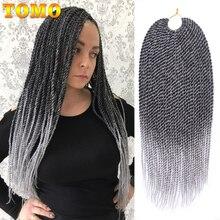 TOMO, 30 корней, 14 дюймов, 16 дюймов, 18 дюймов, 20 дюймов, 22 дюйма, Омбре, синтетические косички, для наращивания волос, маленькие, вязанные крючком косички, Сенегальский твист для черных женщин