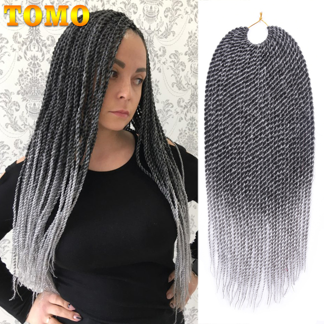 """TOMO 30Roots 14"""" 16"""" 18"""" 20"""" 22"""" Ombre Synthetic Braiding Hair Extensions Small Crochet Braids Senegalese Twist for Black Women"""