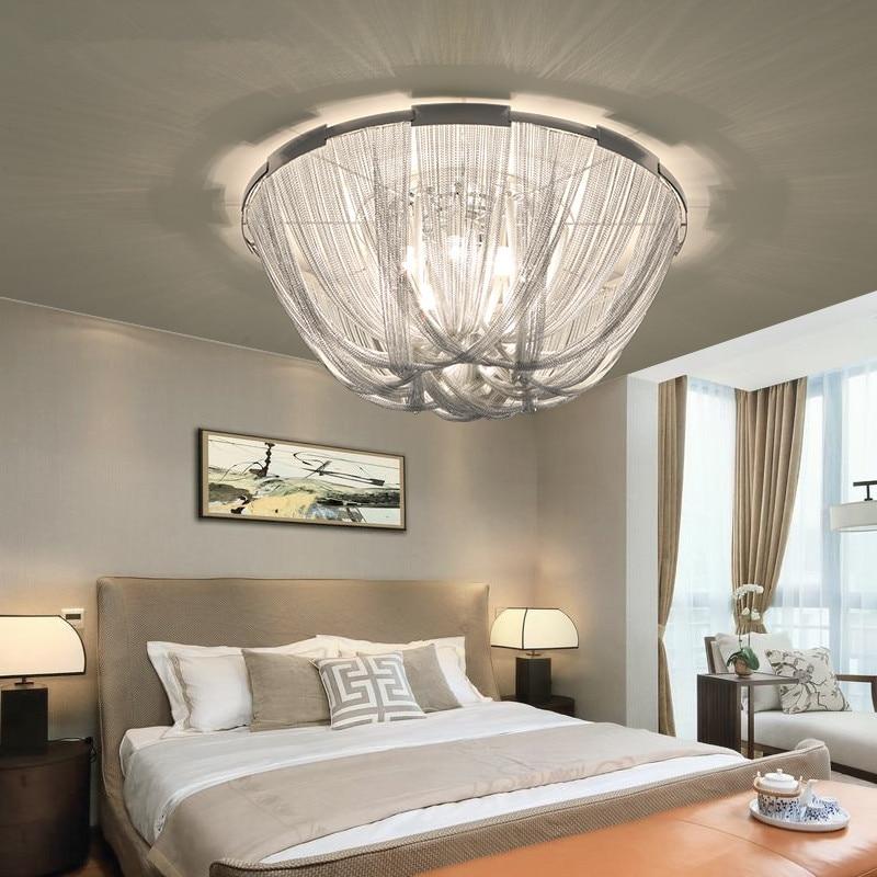 Italian Design Silver Art chandelier Engineering Design Luxury Chain Tassel Aluminum Chain LED Beautiful chandelier Lighting