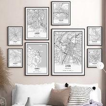 Affiche de ville nordique avec carte de ville en noir et blanc, décoration murale