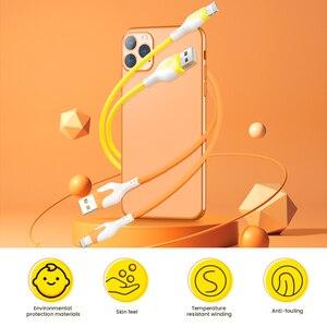 Image 2 - Cabo usb de silicone macio para carregamento rápido de celular, fio de dados de carregador rápido para iphone 12 11 pro max x xr xs 8 7 6s 3a de 1/2m