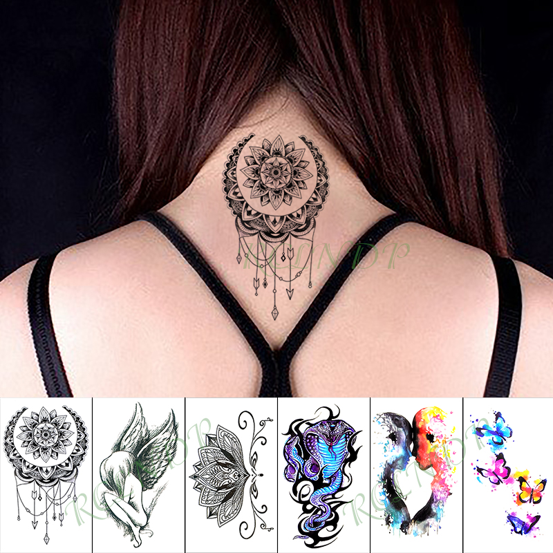 Waterproof Temporary Tattoo Sticker datura Totem Arrow Snake Fake Tatto Hand Arm Foot Flash Tatoo for Kid Girl Men Women