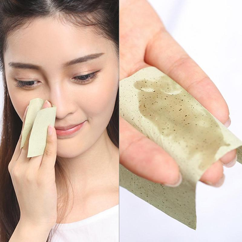 50/100pcs Protable Green Tea Face Matting Wipes Face Absorbing Sheet Blotting Paper Oil Control Paper Papel Absorbentes Faciales