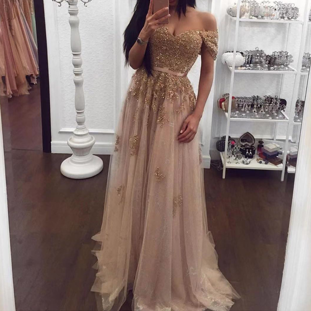 champagne   prom     dresses   2020 sweetheart neckline off the shoulder lace appliques sequins gold a line evening   dresses   long