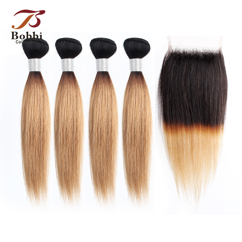 BOBBI COLLECTION 50g/pc 4 Bundles With Closure Indian Straight Non Remy Human Hair Short Bob Style Ombre Honey Blonde Brown