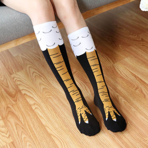1pair Funny 3D Chicken High Stockings Creative Cartoon Animals Thigh Stockings Womens Mens Winter Gift