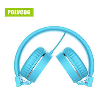 POLVCDG Blue Music Headphones Microphone Noise Cancelling HIFI Headsets DJ Earphone Stereo Computer Mobile MP3 Wired Headset