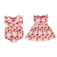 Одинаковые топы для маленьких девочек без рукавов; Платье-комбинезон; Рождественская одежда; Рождественская праздничная одежда