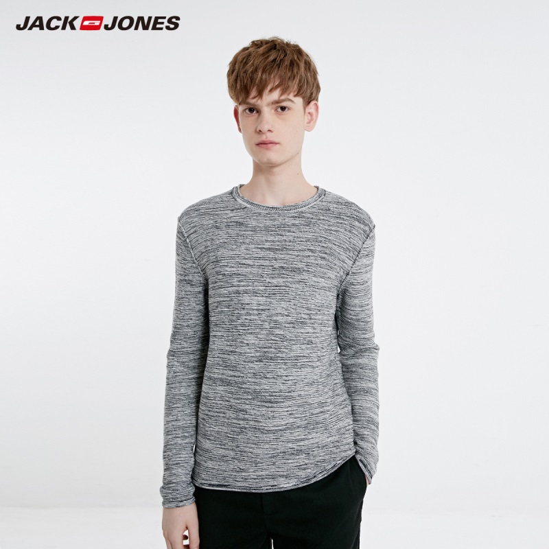 JackJones Autumn Men's Basic Cotton Contrast Floral Sweater Round Neck Long Sleeve Sweater Top 218324512-219124503