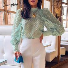 Simplee Elegant floral embroidery women blouse shirt Puff sleeve turtleneck female chiffon blouse tops Streetwear ladies blouses