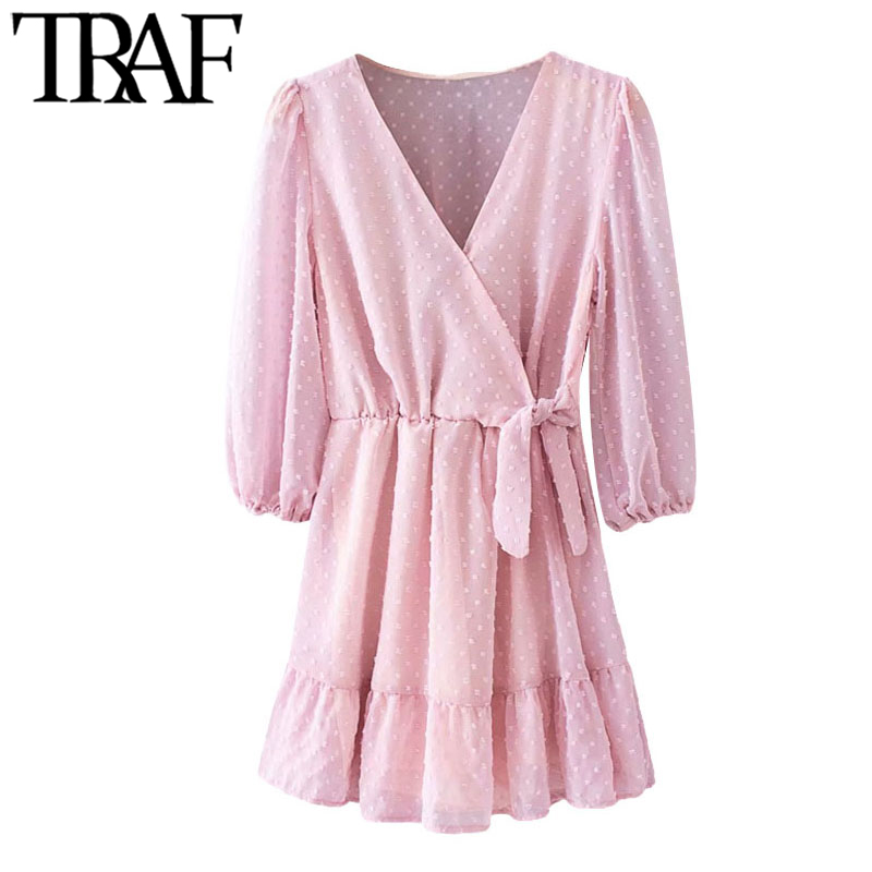 TRAF Women Chic Fashion Dotted Chiffon Ruffle Playsuits Vintage Long Sleeve Side Bow Tied Female Short Jumpsuits Mujer