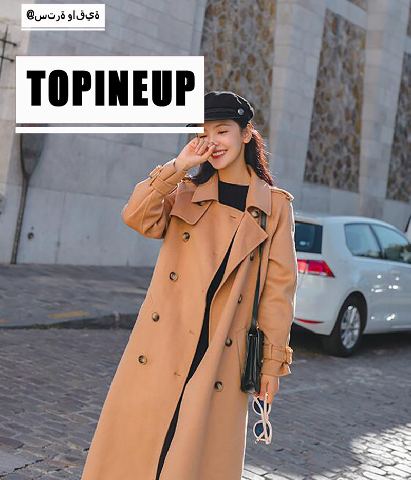 Women Hot Slim Lapel Woolen Coat With Belt Double Breasted Turn-Down Collar Female   Trench   Coat Long Sleeve Warm Party Outerwear