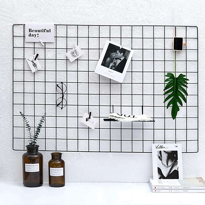 DIY Metal Grid Photo Wall,Multifunction Wall Mounted Ins Mesh Display Panel,Wall Art Display Organizer,Memo Board, With Hook
