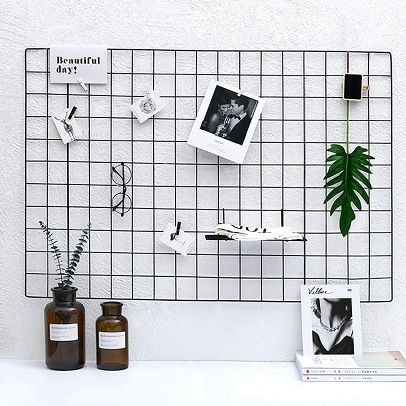 DIY Metal Grid Photo Wall,Multifunction Wall Mounted Ins Mesh Display Panel,Wall Art Display Organizer,Memo Board, With Hook