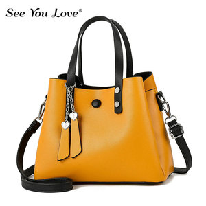 Image 1 - SEE YOU LOVE New Zipper Ladies Crossbody Bags For Women 2020 Leather Handbags Yellow Luxury Flap Woman Messenger Shoulder Bags