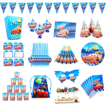 Cars Lightnig McQueen Theme Birthday Party Decorations Kids Disposable Tableware Plate Napkins Cup Baby Shower Party Supplies image
