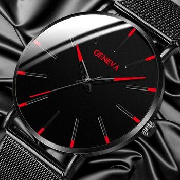 Moda de luxo masculino minimalista relógios ultra fino preto malha aço inoxidável banda relógio de negócios casual analógico relógio de quartzo