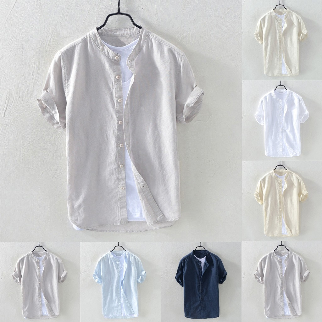 2019 Hot Men's Baggy Cotton Blend Solid Short Sleeve Button Retro  Tops Blouse Dropshipping Discount Free Shipping
