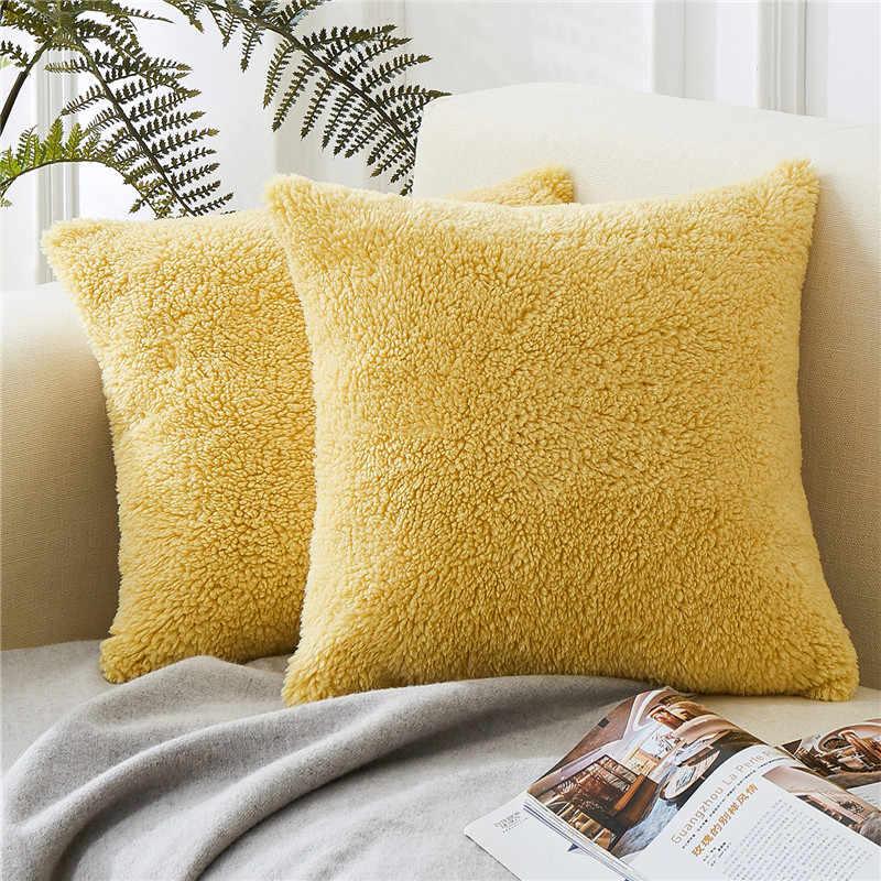 Topfinel Hangat Berbulu Sarung Bantal Lempar Mewah Dekoratif Bantal Cover Square dengan Bulu Lembut Sarung Bantal untuk Tidur Sofa Mobil