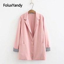 2019 New Pink Blazers Women Autumn Coats Casual Outerwear Single Button Plus Size KKFY3909