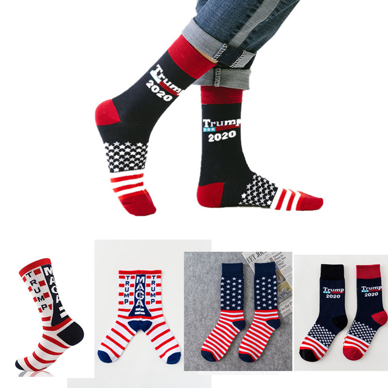 Fashion Cool Trump America National Flag Stars Stripes Socks Funny Women's Casual Socks Men Short Socks Happy Cotton Black Socks