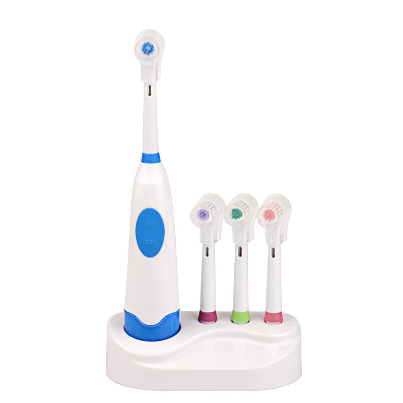 Rotation Battery Electric Toothbrush with 4 Teeth Brush Heads Soft Brush Head Revolving Teeth Electric Brush Family Oral Care image
