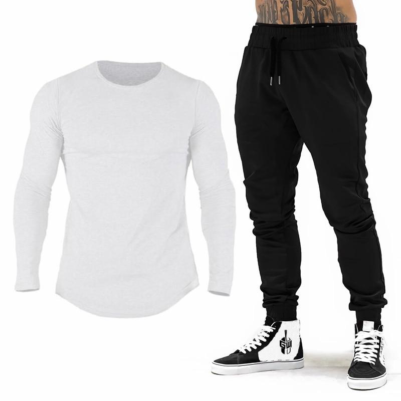 Brand Gym Clothing Tracksuit Men Cotton Long Sleeve T-Shirt + Joggers Pants Men Bodybuilding Fitness Jogging Sweatpant Sweatsuit